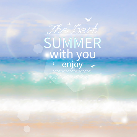 Summer poster with sea, sun   Vector