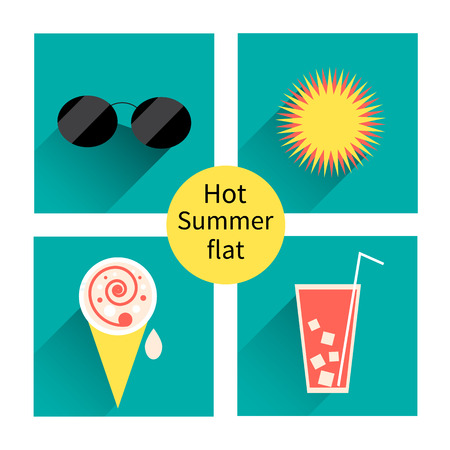 summer icons  Flat design trend  Retro color  illustration Vector