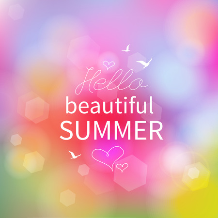 tropical background: Hello Summer  Color Blurred poster  Vector illustration