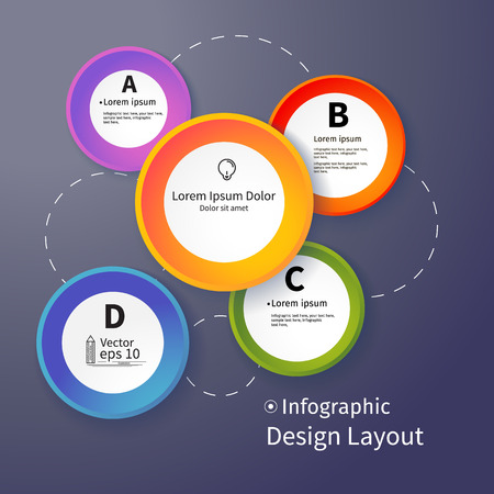 3D Circles bright layout, vector illustration Vector