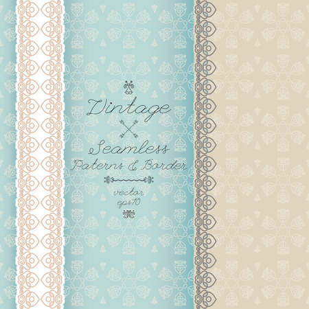 Vintage seamless background and border, invitation with lace, vector Vector