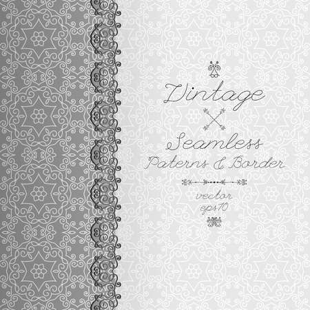 felicitation: Vintage seamless background and border, invitation with lace, vector