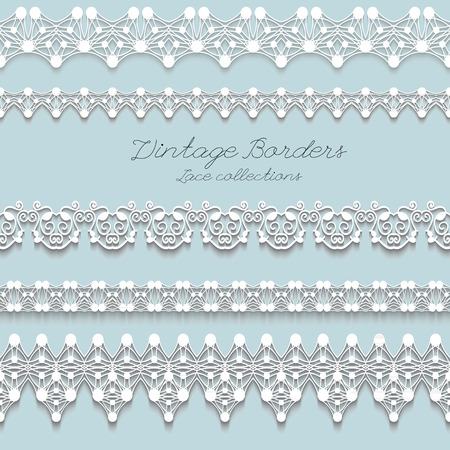 Set of Realistic Vintage lace seamless borders, illustration Vector