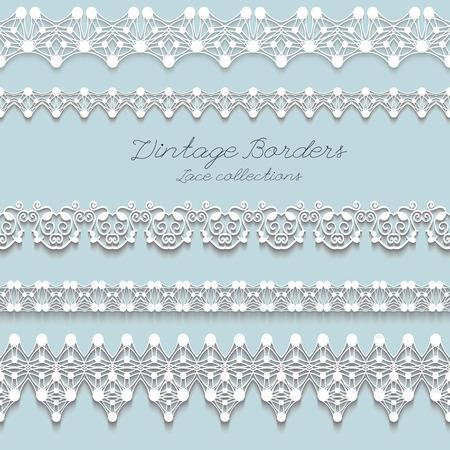 tatting: Set of Realistic Vintage lace seamless borders, illustration Illustration