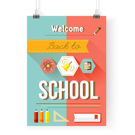 Back to school poster with icons, design elements