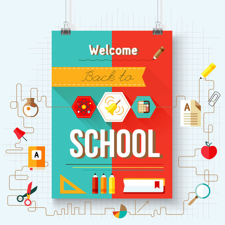 sales book: Back to school vector poster with aicons, design elements