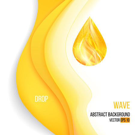 Realistic Wave oil or honey background with drop Vectores