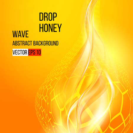 Smooth waves, Amber honey  Abstract background  Dynamic Vector illustration Vectores