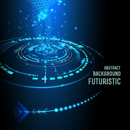 미래의 인터페이스의 그림, 기술, 벡터, 공상 과학 배경