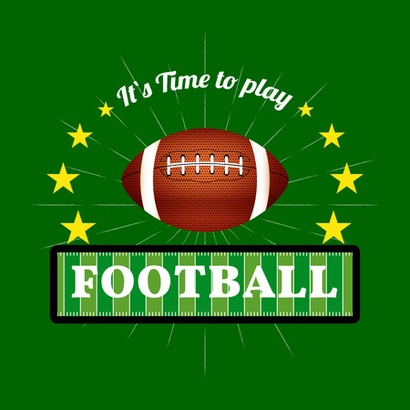 nfl: Illustration of Fantasy Football emblem and badges with American football ball.