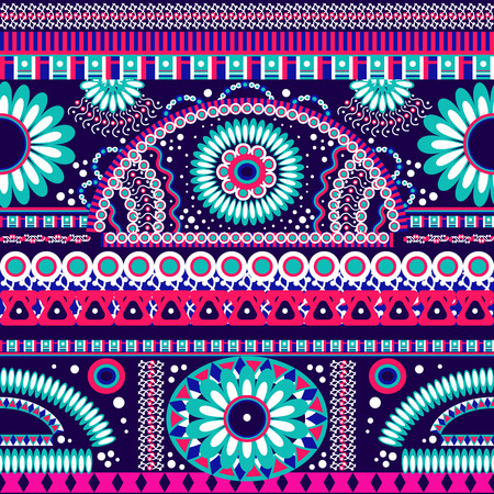 bright color: Abstract seamless  tribal ethnic background Illustration