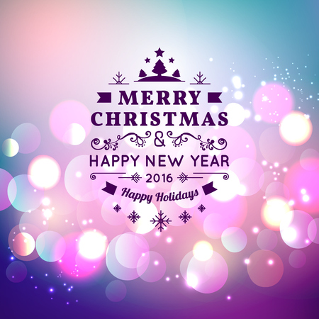 happy holidays: Vector illustration of Merry Christmas Typography Lettering Design Greeting Card on Bokeh background.  Vector illustration Happy New Year Happy Holidays Template.