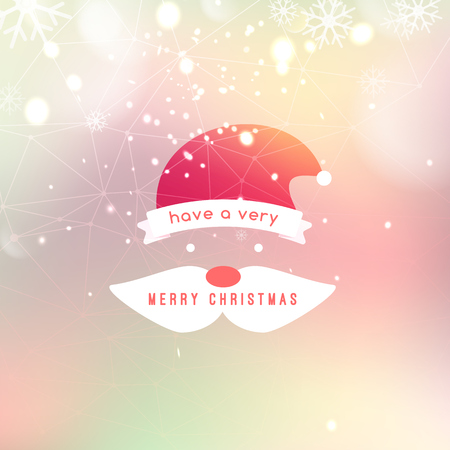 santa hat: Vector illustration of Merry Christmas  Lettering Design Greeting Card with flat santa hat on Bokeh background.