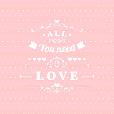 polka dots background: All you need is love retro poster design with hand drawn elements, ribbons arrows on pink polka dots background. Valentines day greeting card. Vector illustration. Illustration