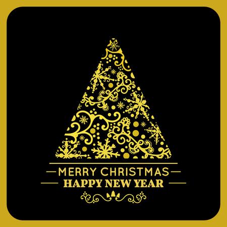 fur tree ornament: Graphic elegant Gold Christmas tree. Vector illustration.