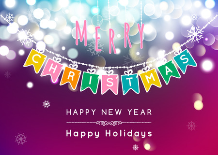 bokeh message: Merry Christmas message and light Bokeh background.  Vector illustration Eps 10. Illustration