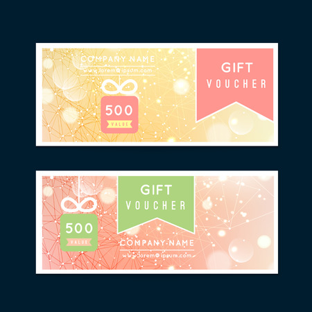 Vector illustration,Gift voucher template with gift, clean and modern flat pattern on bokeh background