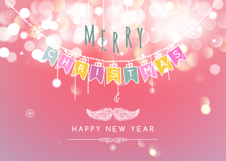 bokeh message: Merry Christmas message and light Bokeh background.  Vector illustration Eps 10. Stock Photo