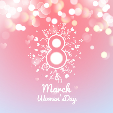 bokeh: Greeting card with March 8, womens day on bokeh background, vector illustration Illustration