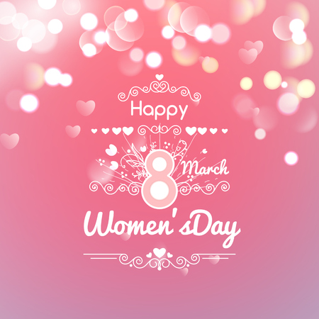 Greeting card with March 8, women's day on bokeh background, vector illustration