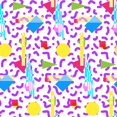 '80s: Seamless geometric vintage pattern in retro 80s style, memphis. Ideal for fabric design, paper print and website backdrop.