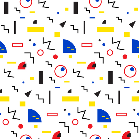 90s: Seamless geometric pattern in retro 80s style, memphis Illustration