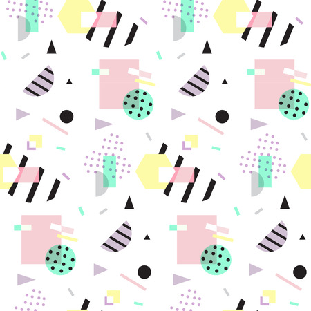 '80s: Seamless geometric pattern in retro 80s style, memphis Illustration