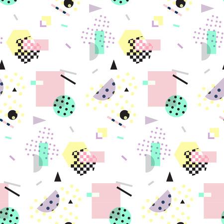 Seamless geometric pattern in retro 80s style, memphis Vettoriali