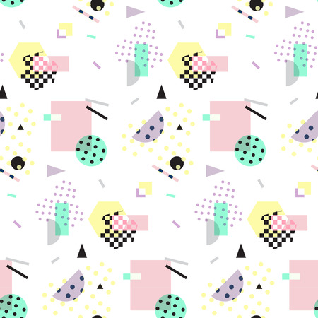Seamless geometric pattern in retro 80s style, memphis Vectores