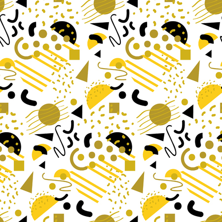 80s: Seamless gold geometric pattern in retro 80s style, memphis, vector.