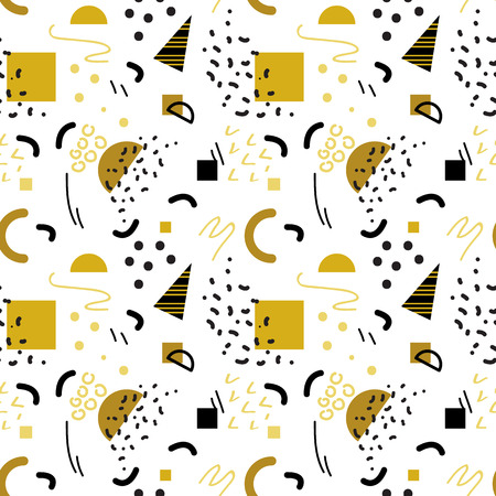 Seamless gold geometric pattern in retro 80s style, memphis, vector.