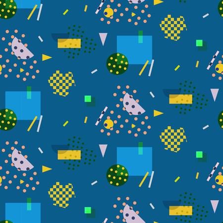 80s: Seamless geometric pattern in retro 80s style, memphis, vector. Illustration