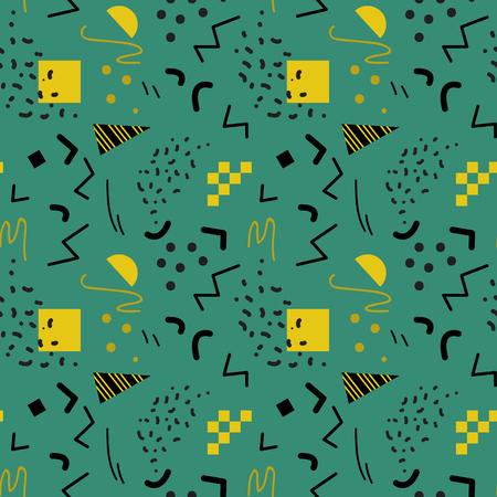 80's: Seamless geometric pattern in retro 80s style, memphis, vector. Illustration