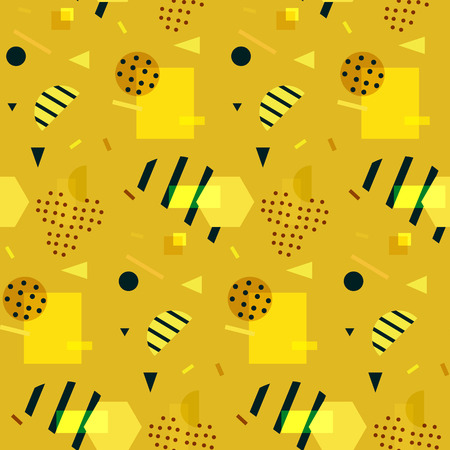 '80s: Seamless gold geometric pattern in retro 80s style, memphis, vector.