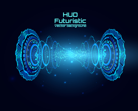 Futuristic interface, HUD,  sci-fi vector background for you technology design, web, card, brochure, template. Vectores