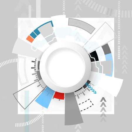 Vector illustration abstraite carte de circuit futuriste, salut-technologie concept de la technologie numérique de l'ordinateur, Blank blanc 3d cercle de papier pour votre conception de la lumière couleur fond gris