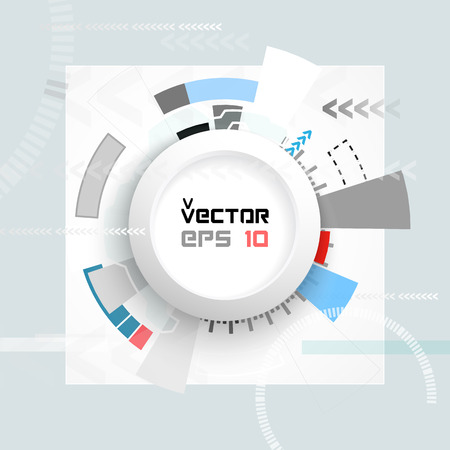 telecoms: Vector illustration Abstract futuristic circuit board, hi-tech computer digital technology concept, Blank white 3d paper circle for your design on light gray color background