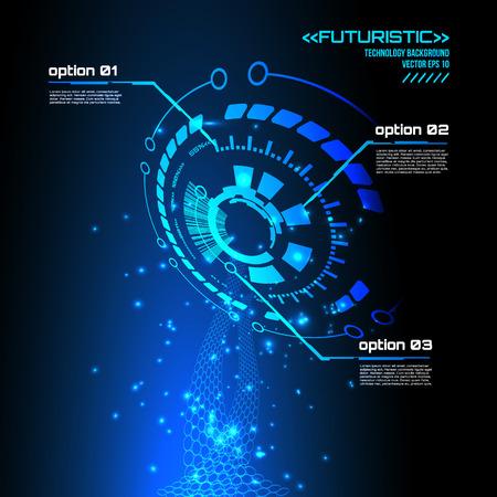 virtual technology: Futuristic interface, HUD,  vector background