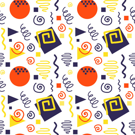 80's: Seamless geometric pattern in retro 80s style, memphis Illustration