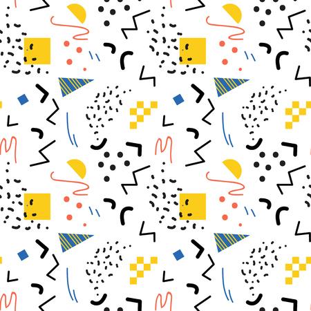 80s: Seamless geometric pattern in retro 80s style, memphis Illustration
