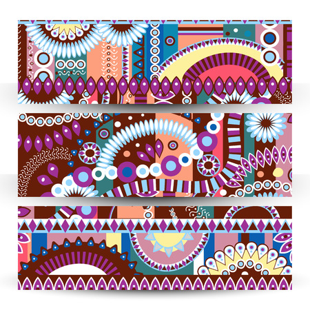 bright color: set of banner Abstract  tribal ethnic background,color  vector. Illustration