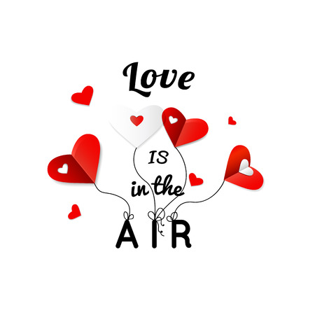 14: Happy Valentines Day Greeting Card with typography, heart.  14 February. Love is in the air. Vector illustration