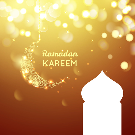 agra: golden moon, Ramadan Kareem greeting on gold bokeh background. Illustration