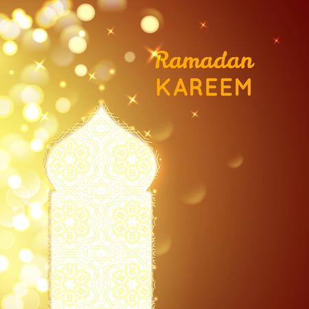 agra: Ramadan Kareem greeting on gold bokeh background.