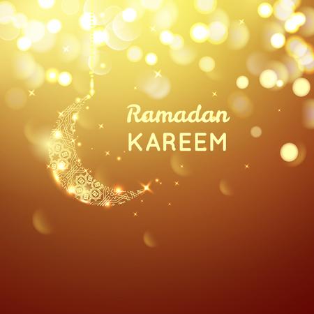 golden moon, Ramadan Kareem greeting on gold bokeh background. Vectores