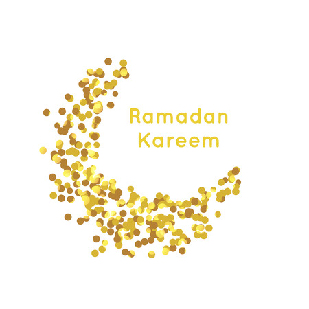agra: illustration of Golden Moon , Ramadan Kareem greeting, gold background.