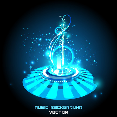 Abstract shiny musical notes on techno background. futuristic vector. Vettoriali
