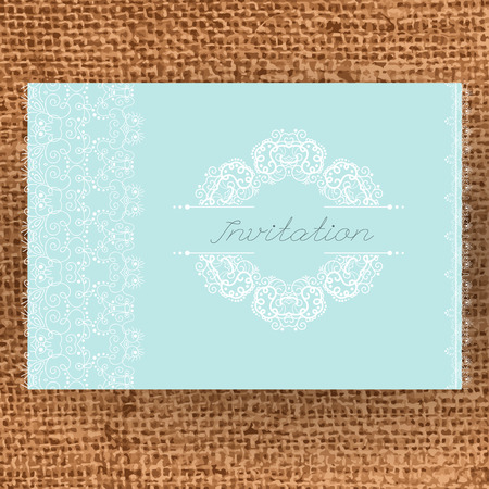 burlap texture: Vintage Wedding card or invitation with abstract lace decoration on a realistic burlap texture