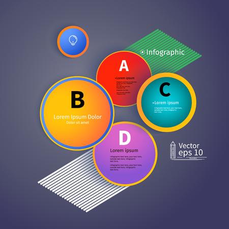 3D Circles il layout luminoso, infografica, illustrazione vettoriale