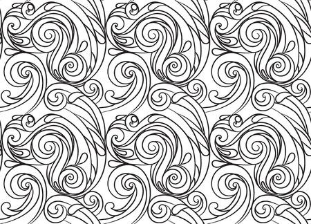 dibujos para pintar: Modelo incons�til del mar, onda blanco y negro. Dibujos para colorear adultos.